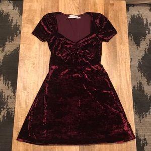 Urban Outfitters Velvet Maroon Dress